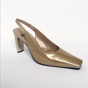 Stuart Weitzman Gold Metallic Square Toe Heels